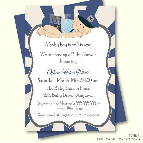 police baby shower invitation law enforcement