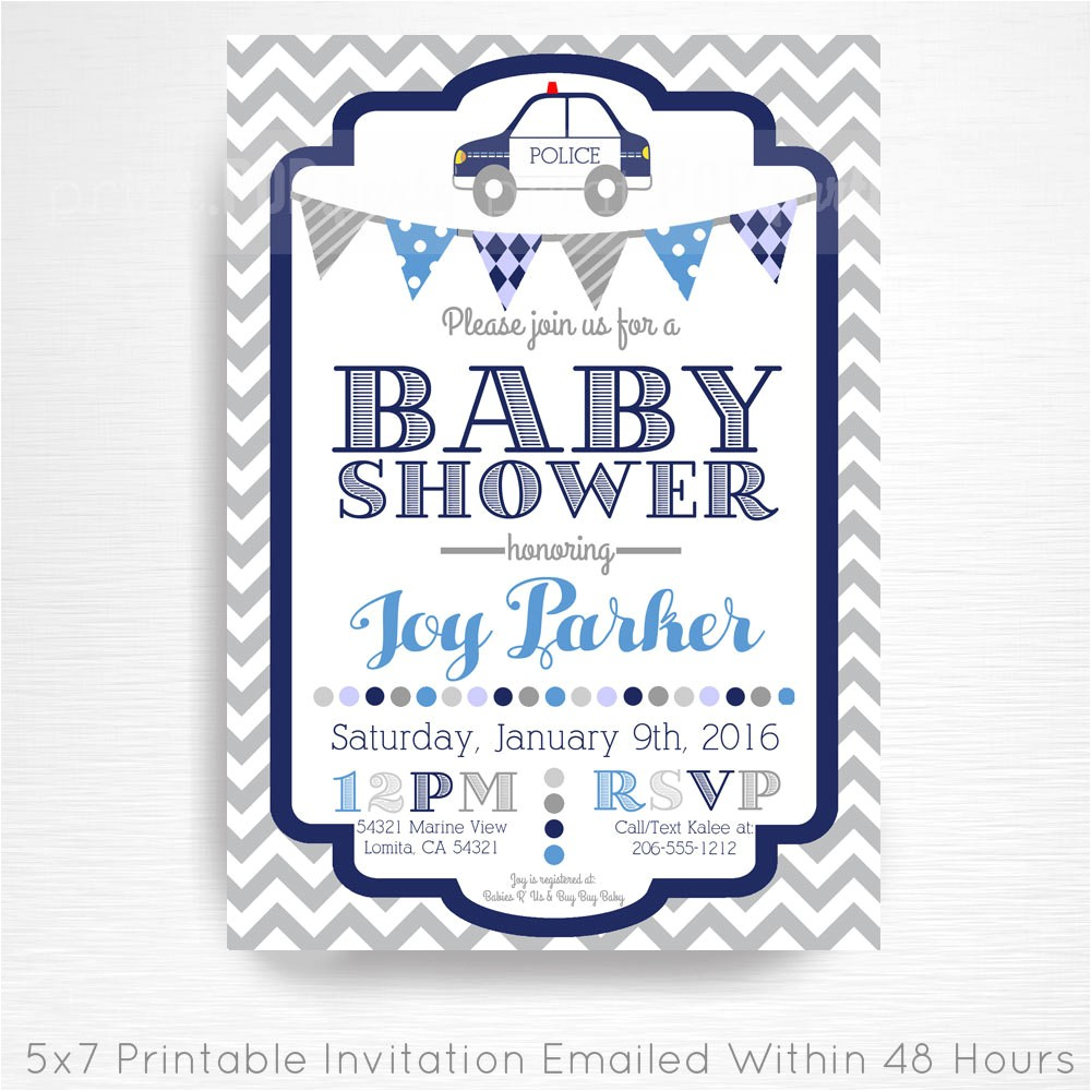 police officer baby shower printable
