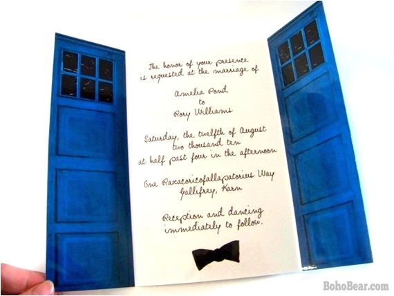 police box wedding invitation customized