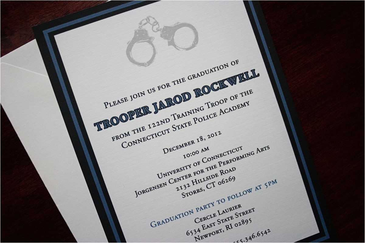 thin blue line police academy graduation announcement or invitation