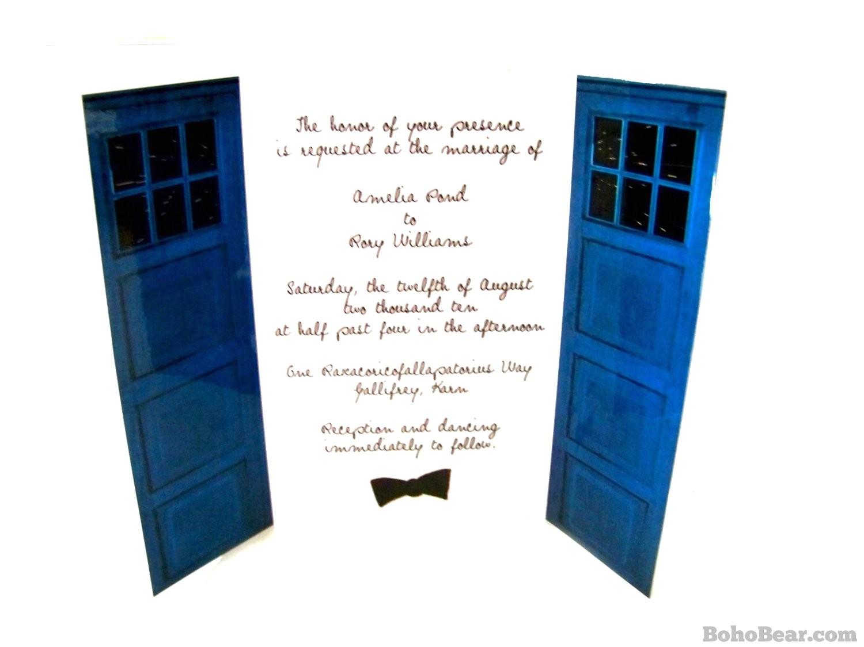 wedding invitations blue police box