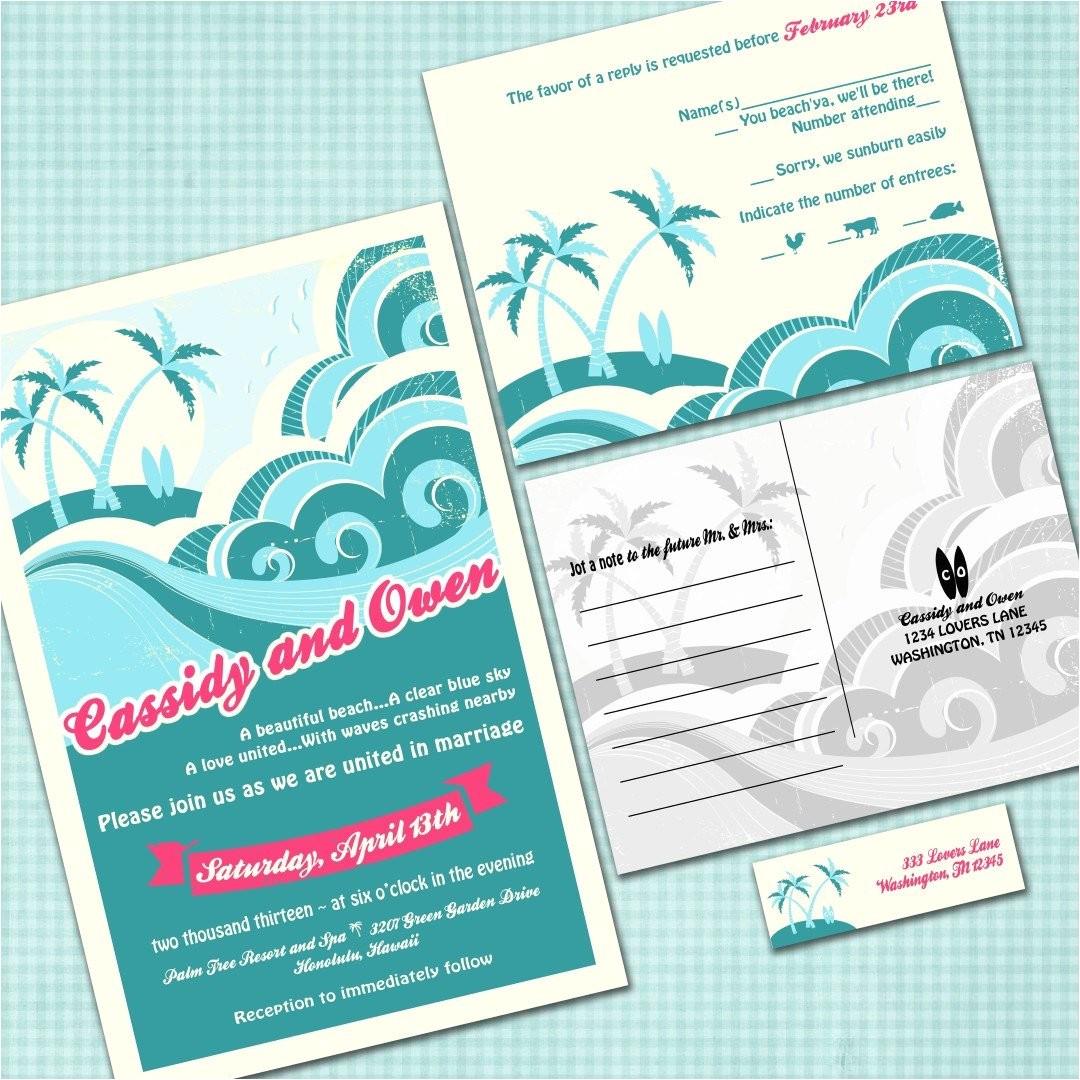 custom hawaiian wedding invitation suite