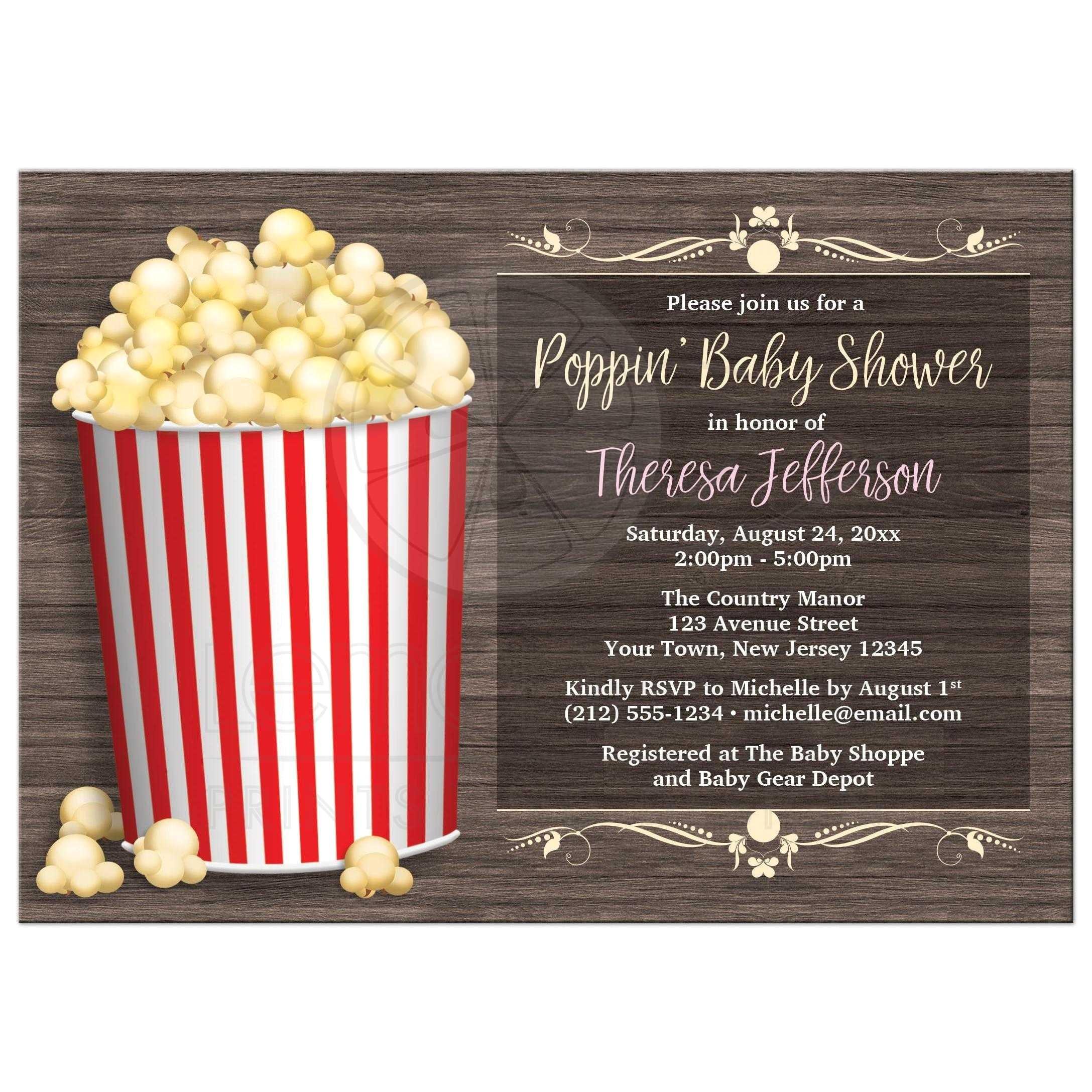 baby shower invitations popcorn theme rustic wood