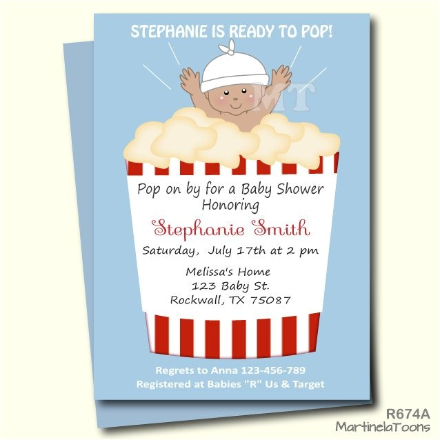 ready to pop baby shower invitation cute