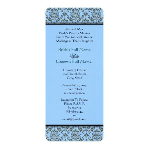 grey damask on powder blue wedding invitation 161138590342883053