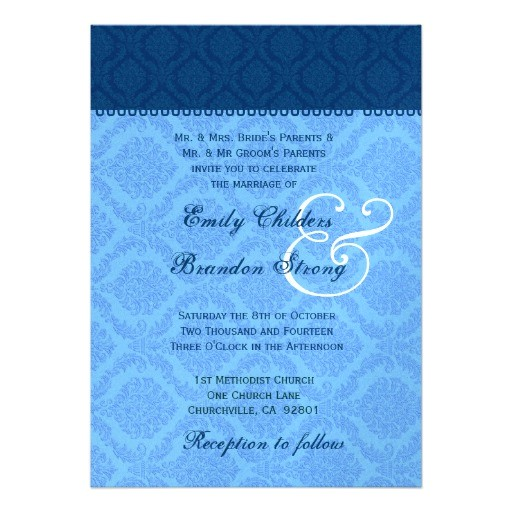 navy and powder blue damask wedding template invitation 161587447597974530