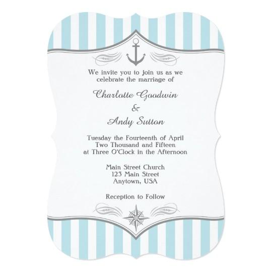 powder blue grey nautical wedding invitation 256466181632055569