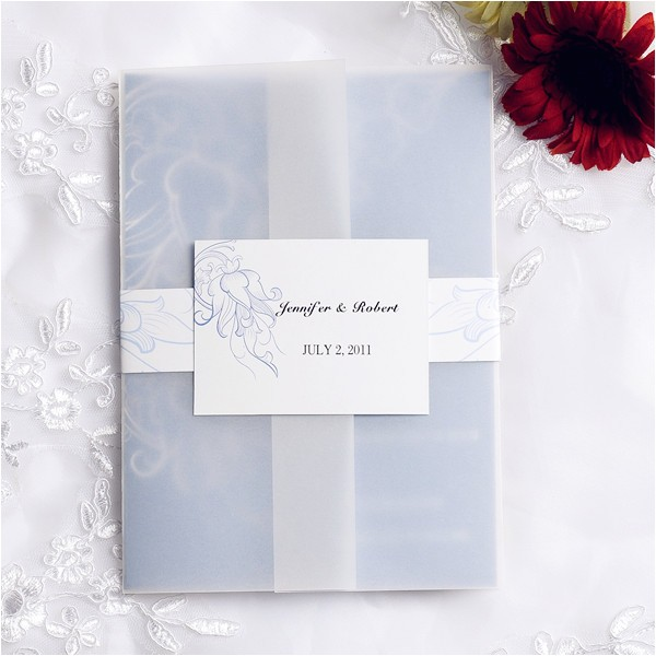 vintage powder blue pocket wedding invitation cards ewpi059