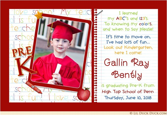Pre K Graduation Invitations Photo Kindergarten Graduation Invitation Pre K Elementary