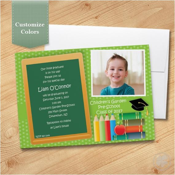 photo pre school graduation invitation elementary