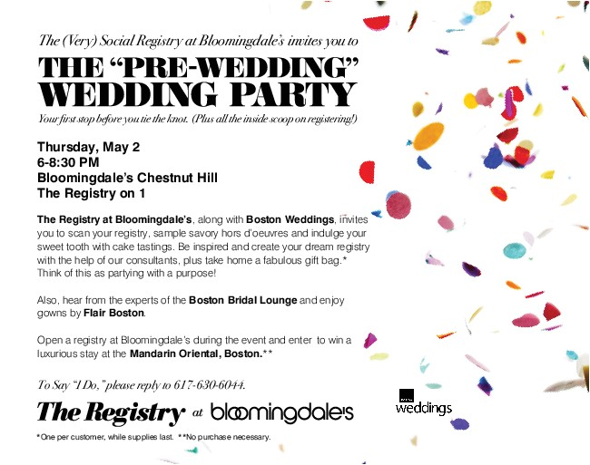 the pre wedding wedding party at bloomingdales chestnut hill