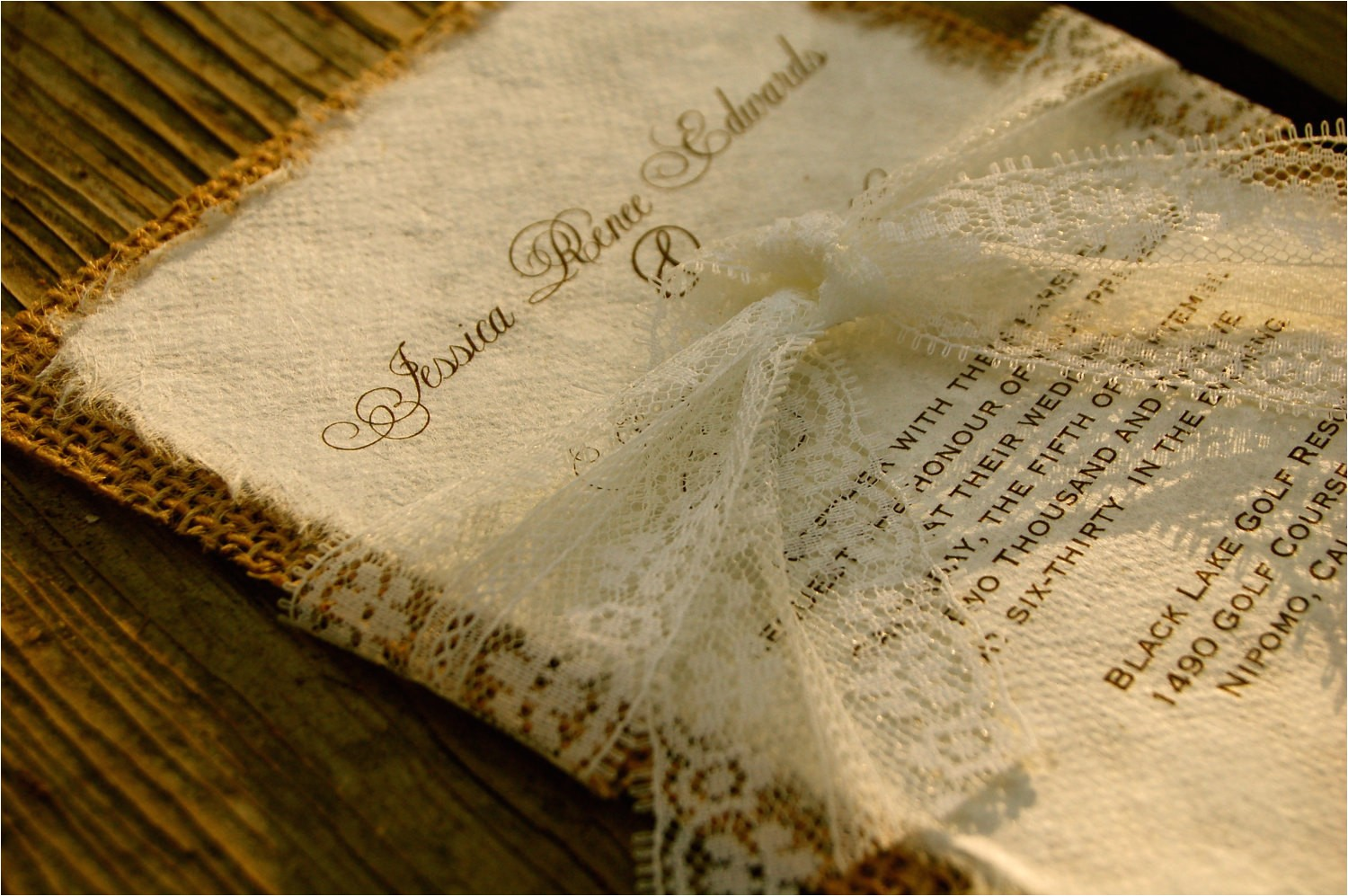 pre made lace and burlap wedding