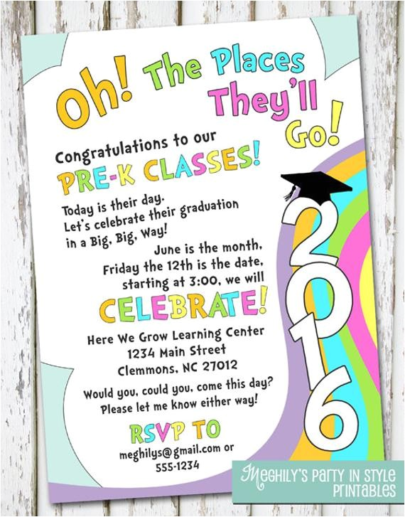 places youll go preschool graduation invitation