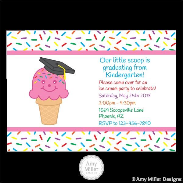 preschool or kindergarten graduation diy printable custom invitation ice cream cone