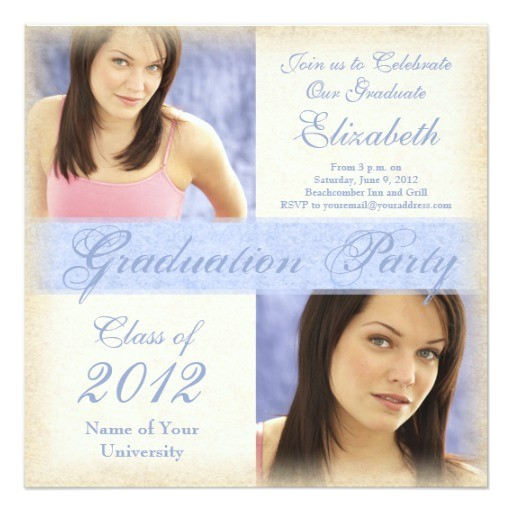 pretty blue girls graduation party invitations 161382687110398505