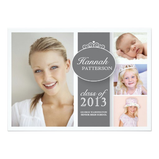 pretty girl 4 photo in gray graduation invitation 161006937251523537