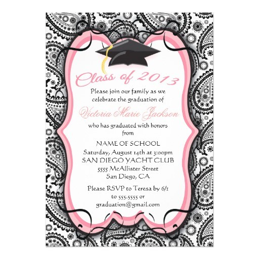pretty paisley graduation invitation 161044828898133118