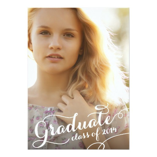 pretty script 2014 graduation party invitation 161729064286215599