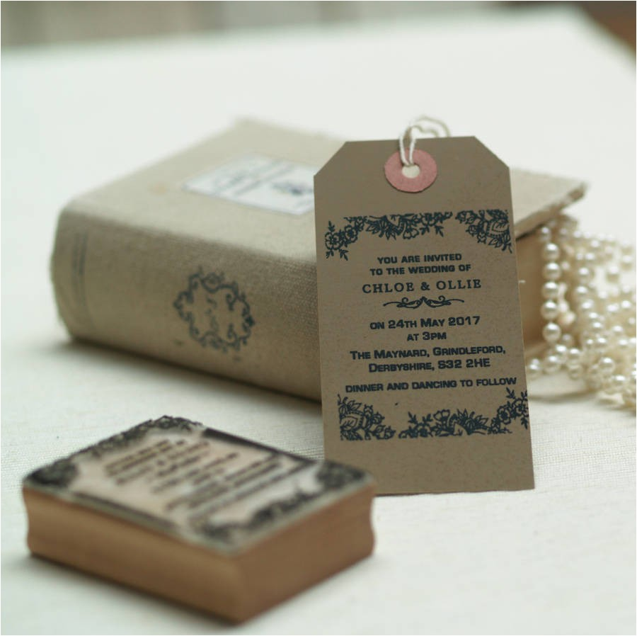personalised wedding invitation stamp lace design
