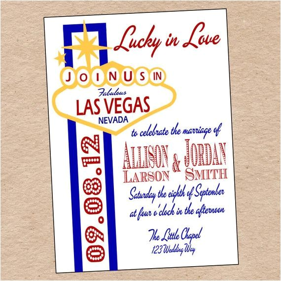 Printable Las Vegas Wedding Invitations Items Similar to Las Vegas Wedding Invitation or Save the