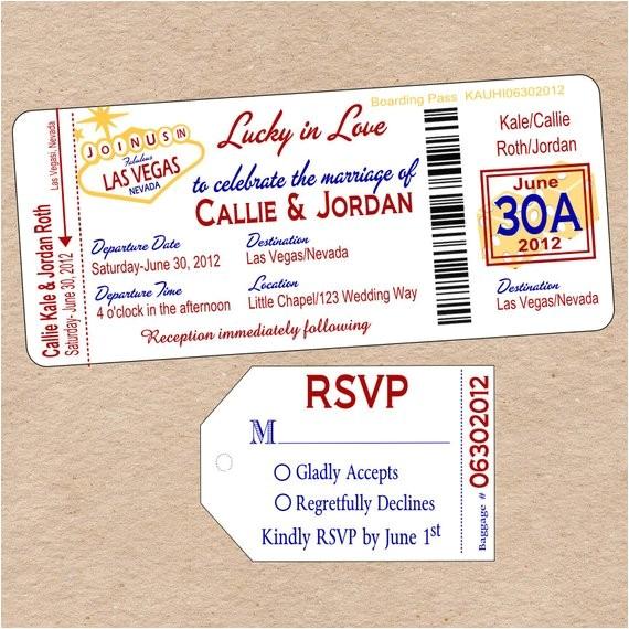 vegas boarding pass wedding invitation
