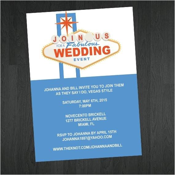 las vegas themed wedding invitation