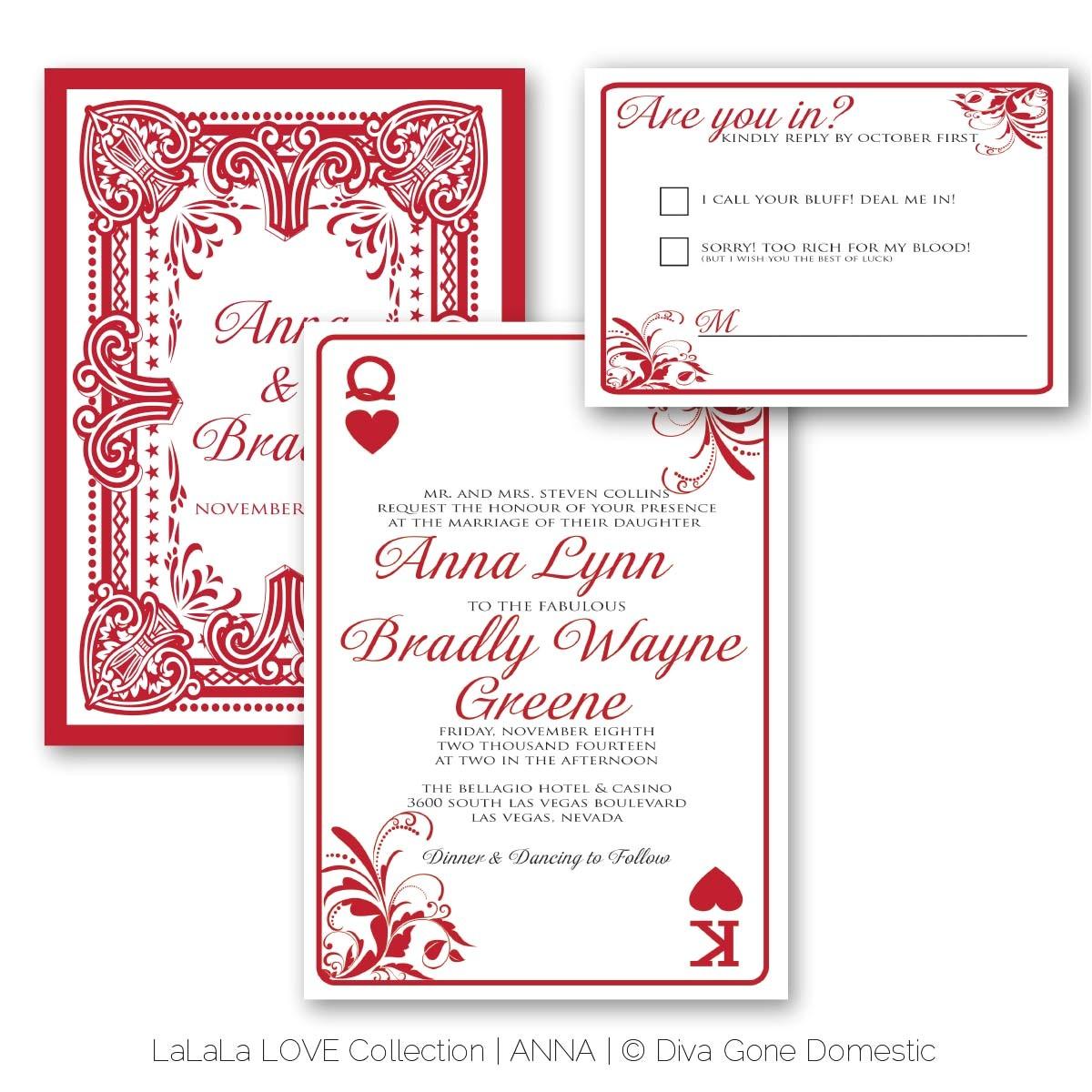perfect ideas playing card wedding invitations las vegas theme