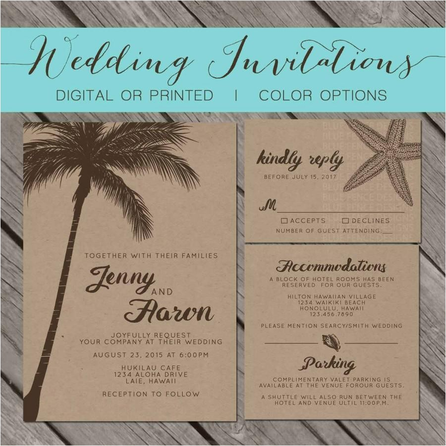 beach kraft paper wedding invitation palm trees island destination seashell starfish wedding invitation printable template