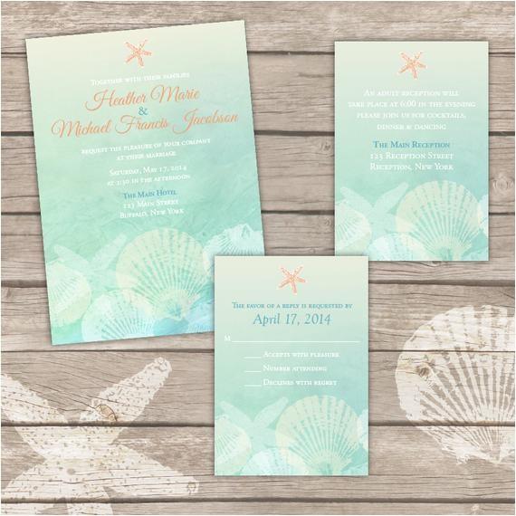printable beach wedding invitations templates