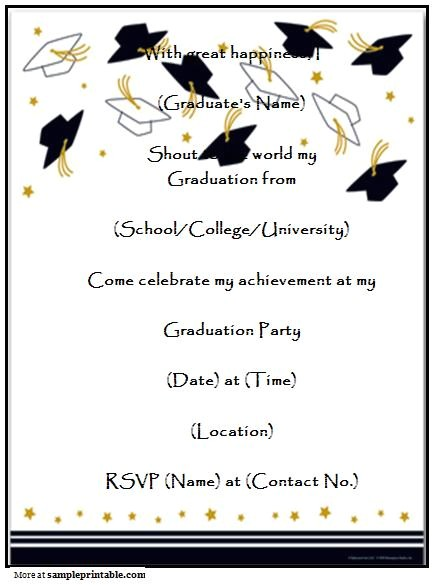 Printed Graduation Party Invitations Homemade Graduation Party Invitation Printable Homemade