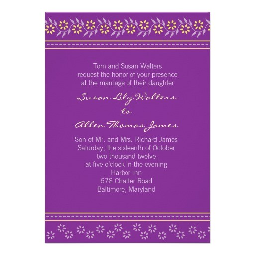 indian floral wedding invitation purple and yellow 161858283089097590