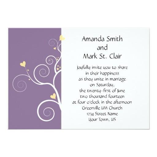modern hearts purple and yellow wedding invitation 161801698679069804