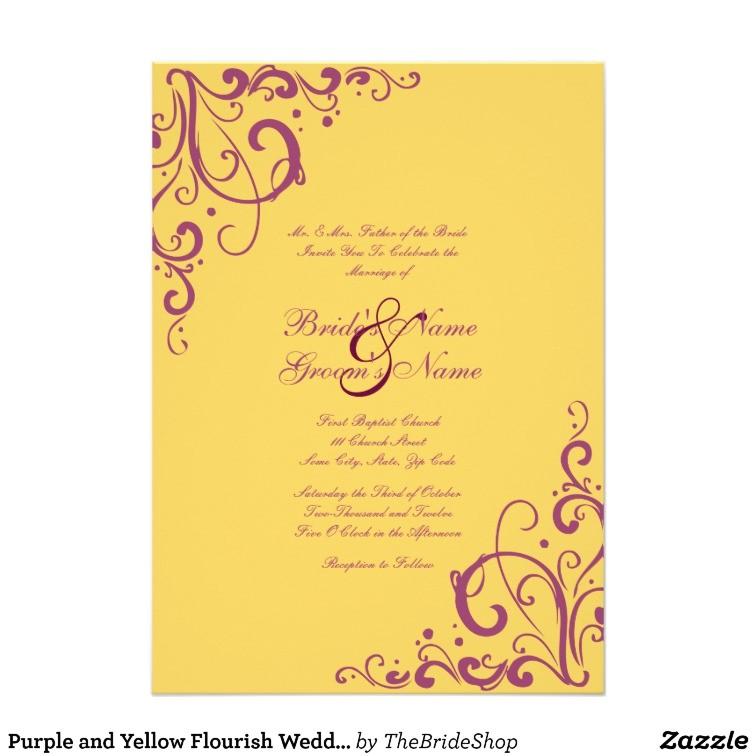 purple and yellow flourish wedding invitation 161430764070345923