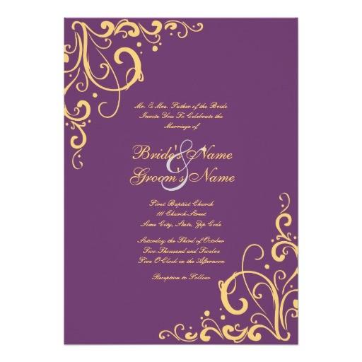 purple and yellow flourish wedding invitation 161801690713001945