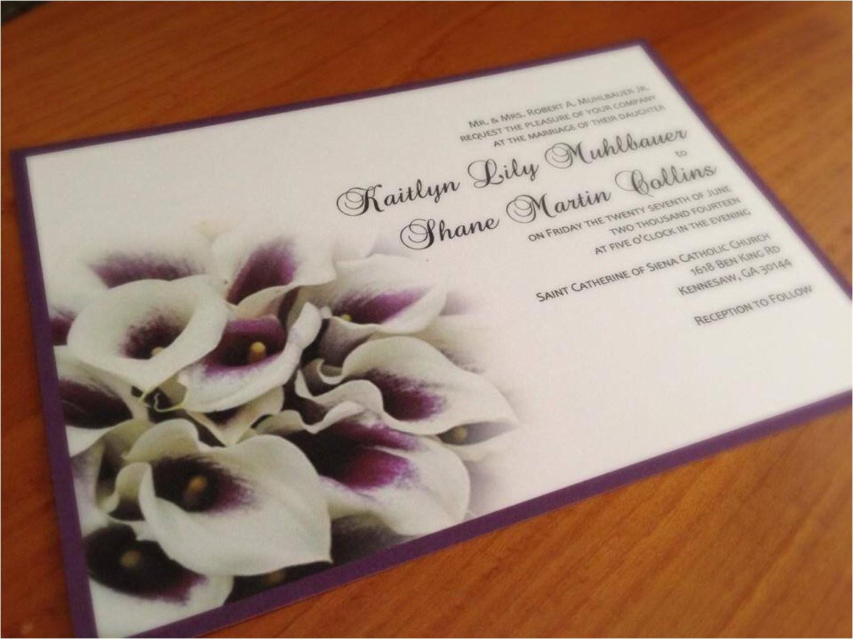 calla lily purple wedding invitation