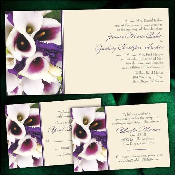 custom purple calla lily wedding