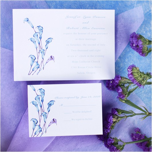 elegant purple calla lily wedding invitations with free response cards ewi086