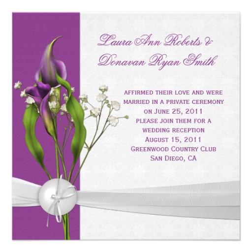 purple calla lilies white damask post wedding invitation 161529311594705901