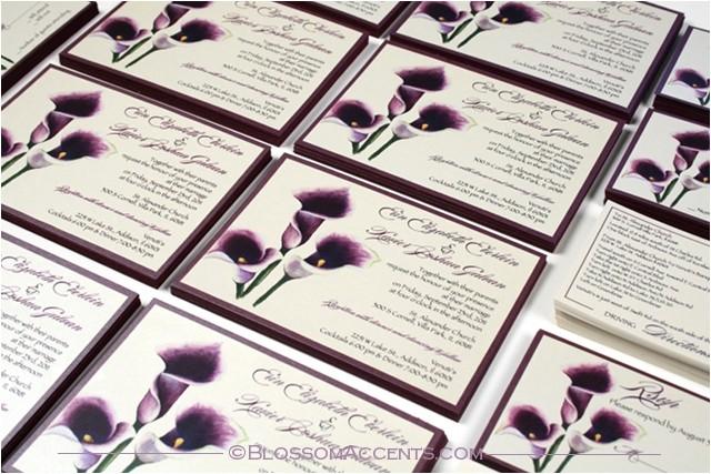 purple calla lily wedding invitation