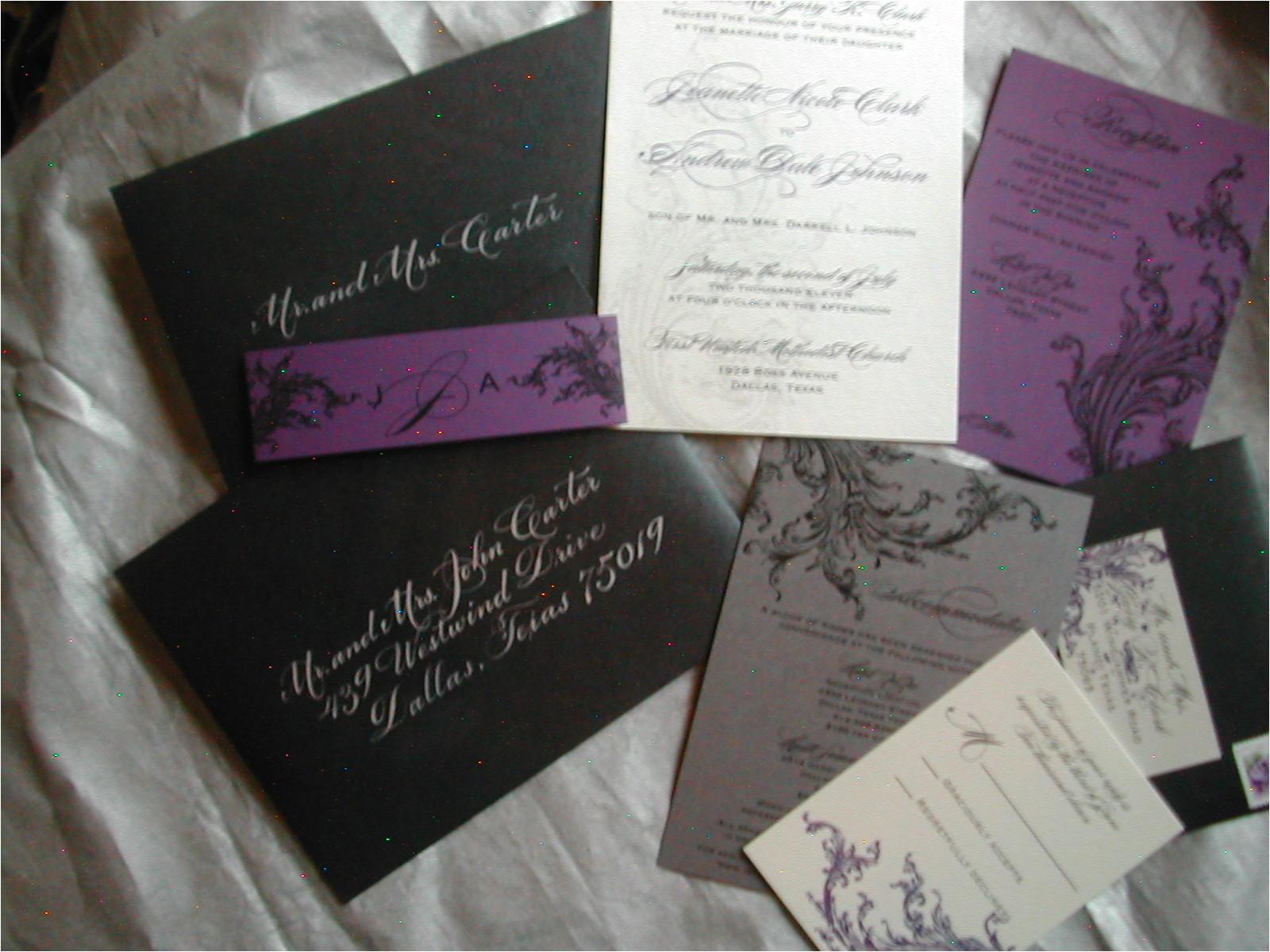 black and purple wedding invitation