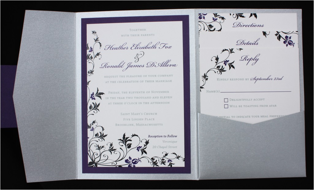 dark purple black silver floral pocketfold wedding invitations