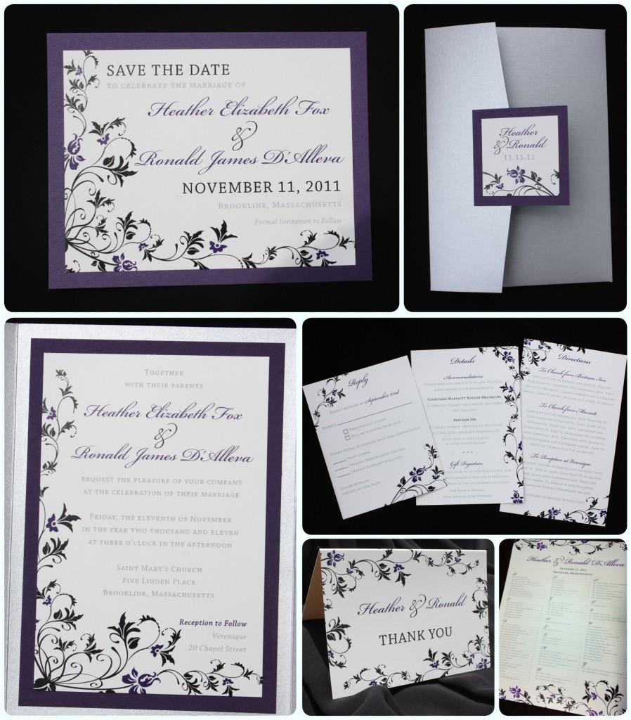 Purple Silver and Black Wedding Invitations Dark Purple Black Silver Floral Pocketfold Wedding