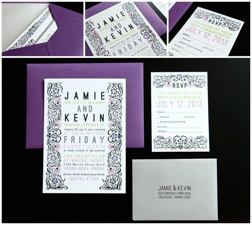 purple and silver wedding invitations image of black