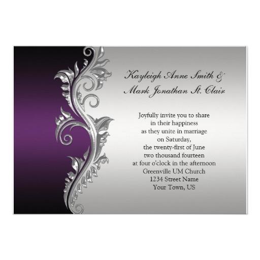 vintage purple black and silver wedding invitation 161488739377549982