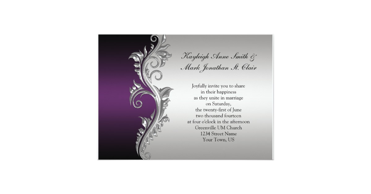 vintage purple black and silver wedding invitation 161488739377549982