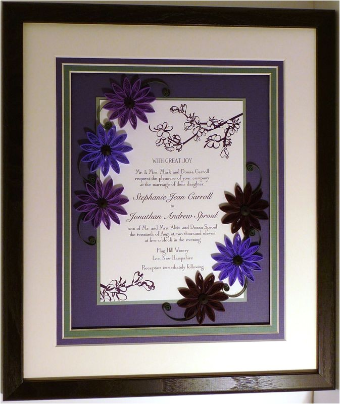 quilled wedding invitation keepsake custom wood frame