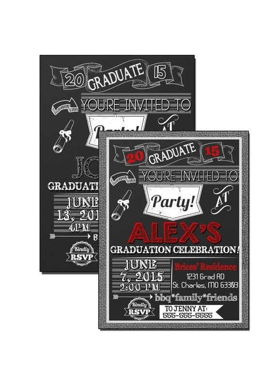 black and red graduation invitations