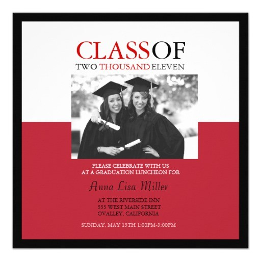 photo graduation invitations in red and black 161172404115596451