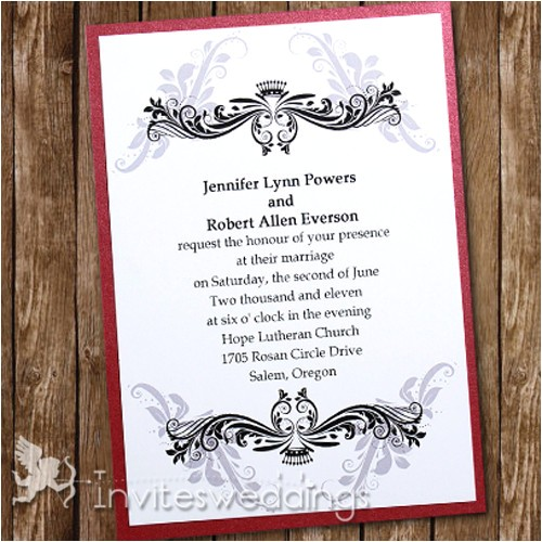 post red and silver wedding invitations 357431