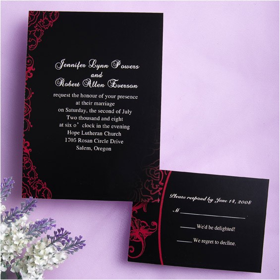 classic black and red wedding invitations ewi034